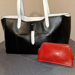 Ralph Lauren Colorblock Satchel Tote Handbag+BONUS